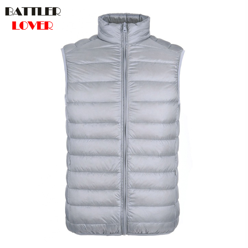2018 New Men Sleeveless Jacket Winter Ultralight 90% White Duck Down Vest Hombre Males Slim Vest Mens Windproof Warm Waistcoat