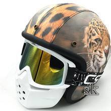 2017 New Arrival Shark Retro Motorcycle Helmet Goggle Motorbike Vintage Face Mask Motor Sport Shield Glasses Gafas White