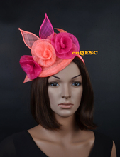 Coral hot pink sinamay fascinator formal hat with sinamay flowers for wedding party kentucky derby Races Ascot Races.
