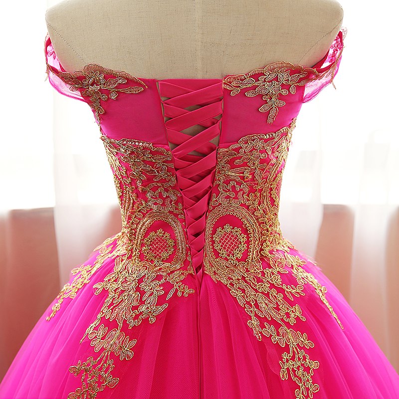 Quinceanera Dress Gold Appliques Lace Sweet 16 Dress Ball Gown