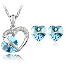 2017 wedding bridal brand gold color Austrian Crystal Heart Pendant Necklace Earrings 11 colors mixed Jewelry sets 9556(China)