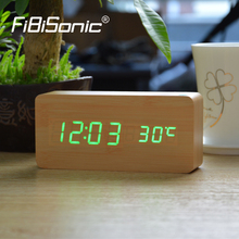 FiBiSonic Wood Digital Table Alarm Clocks, Desktop Clock Home Decor Thermometer Wooden LED Alarm Clock