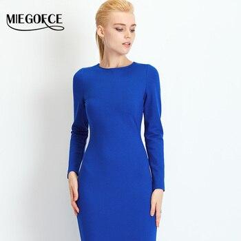 Dress con cuello redondo larga delgada mujeres del otoño dress 2016 miegofce nueva colección otoño de estilo occidental alta calidad bajo dress