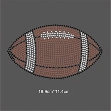 25 Pieces/Lot Football Iron On Crystal Rhinestone Design for Unique Shirt(China)