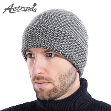 [AETRENDS] 2017 New Winter Beanie Hats for Men Warm Cashmere Feel with Velvet Inside Knitted Beanies Ski Cap Z-6194()
