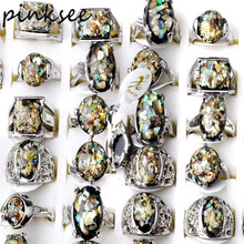 PINKSEE 5pcs/lot Mix Antique Silver Plated Ova Big Stones Femal Ring for Women Men Vintage Jewelry Wholesale