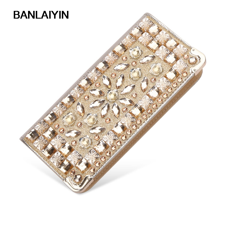 Fashion Long PU Leather Women Wallets Zipper Classic Female Clutch Ladies Diamond Wallet Women Purse Clutch<br>