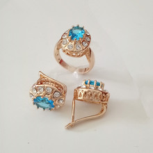 1set New Rose Gold Color Women Jewelry Set Party Women Bridal Jewelry Light Blue Girls Wedding Earring +Ring Jewelry Sets
