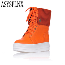 ASYSPLNX round toe platform flat women Fashion snow boots,Winter white balck lace up waterproof Casual ladies woman shoes