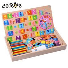 CUTEBEE Wooden Toys for Children Montessori Toy Math Toy Cube Educational Magnetic Mathematical Operation Box Clock for Baby(China)