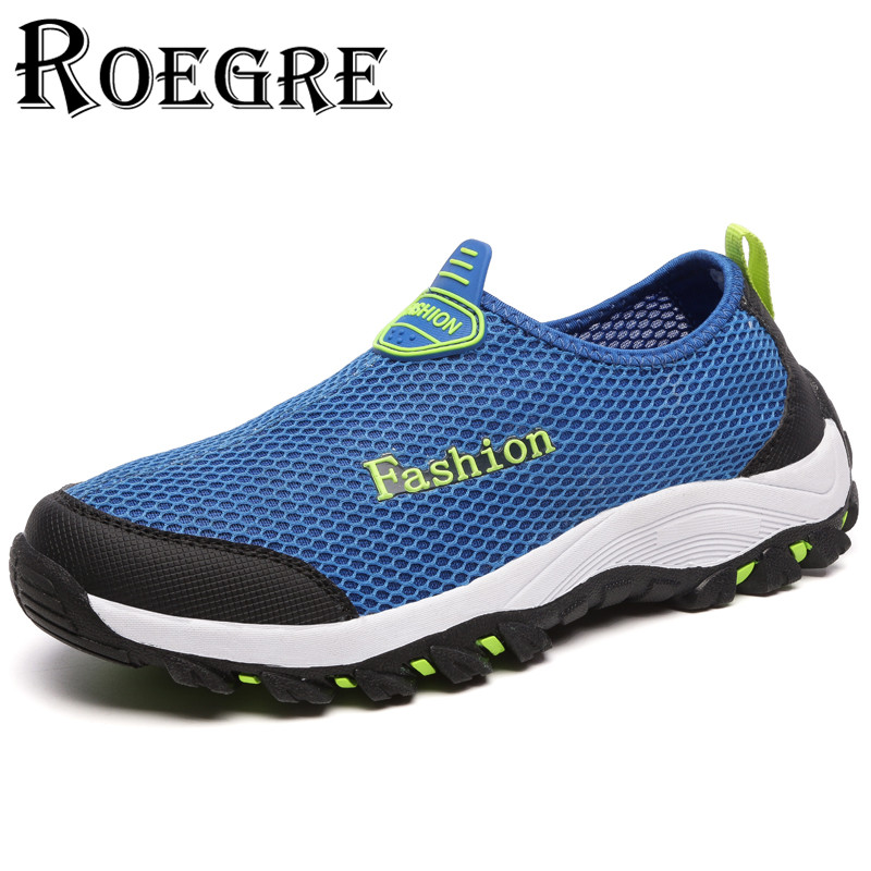 ROEGRE Men Casual Shoes, Summer Breathable Mesh Zapatillas for  Super Light Flats Shoes Size 36-44 Blue Grey Pink<br><br>Aliexpress