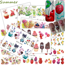 1PCS Nail Sticker Sweets Cake/Ice Cream/Drink/Fruit  Colorful Decals Water Temporary Tattoo Nail Summer Cool Tips CHSTZ474-488