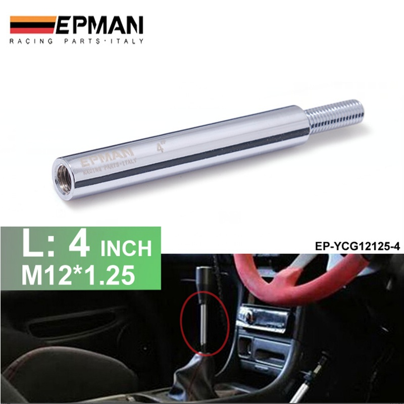 Silver Shift Knob Extension For Manual Gear Shifter Lever 4in M12X1.25 EP-YCG12125-4