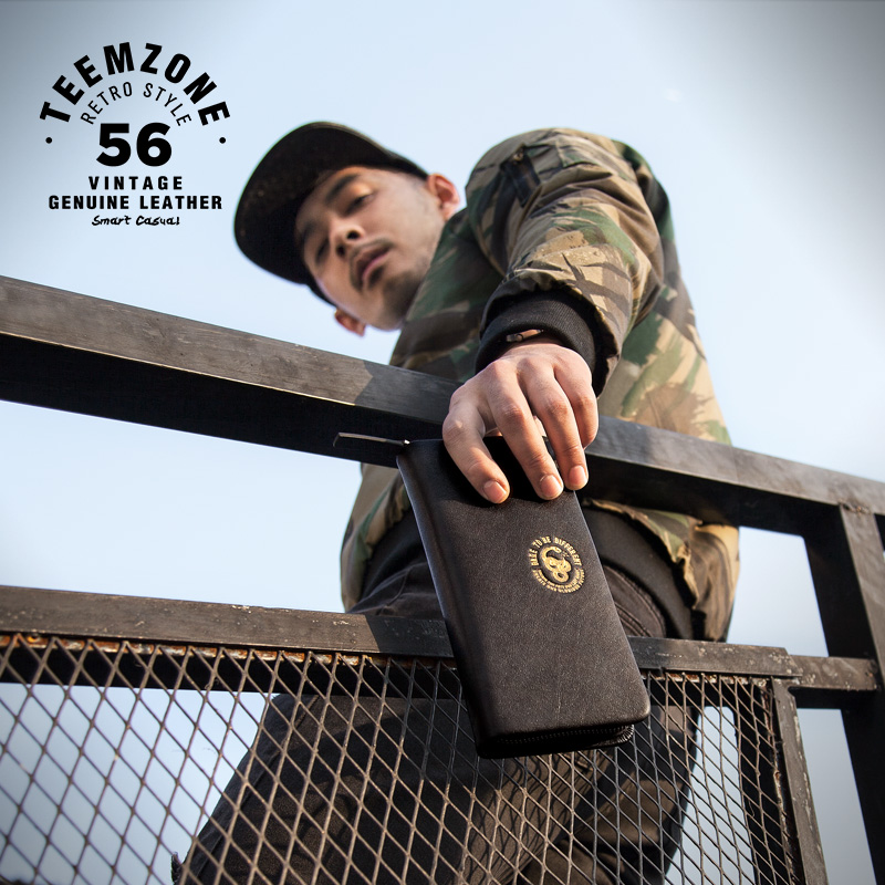 Men Leather Wallet High Quality Fashion Zipper Wallets Men Famous Brand Long Purse Male Clutch Casual Style Long Money Bag j50<br>