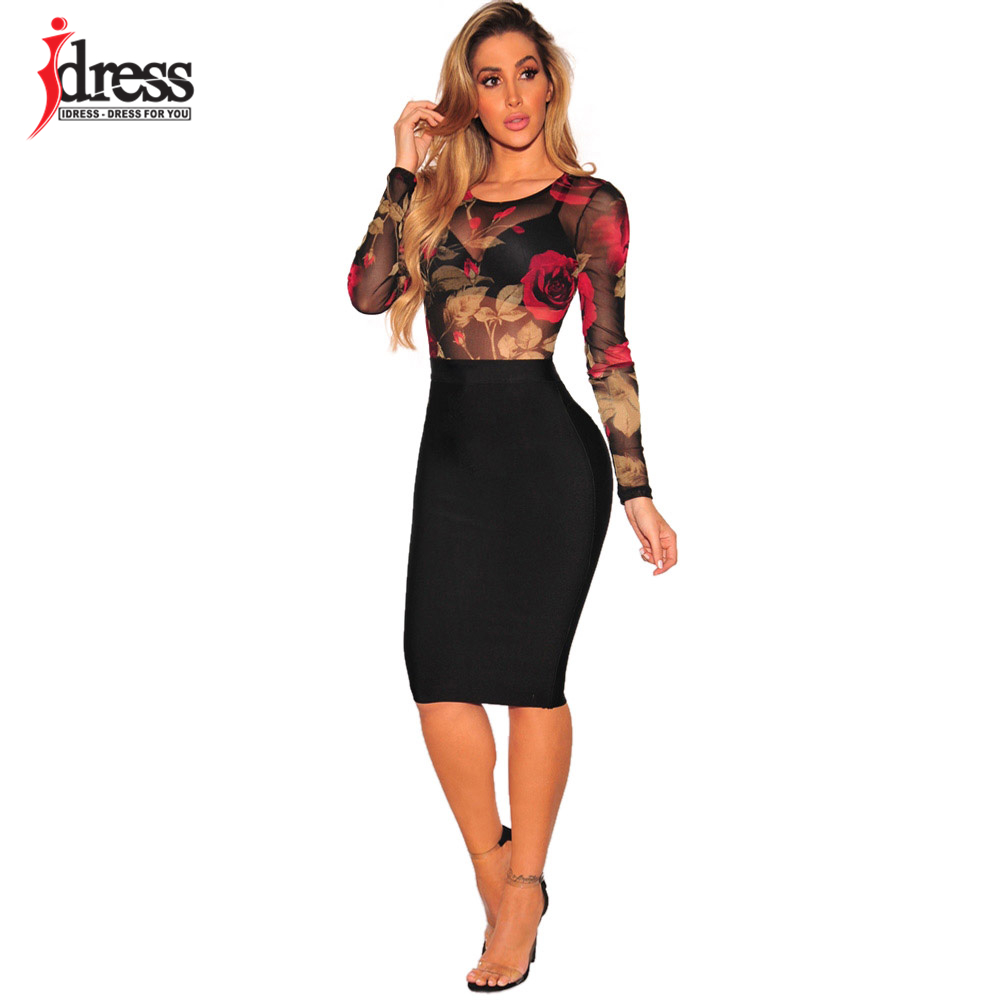 IDress 2018 New Design Women Elastic Floral Print Mesh Bodysuit Sexy Sheer Body Suit Leotard Rompers Black Bodysuit Long Sleeve (1)