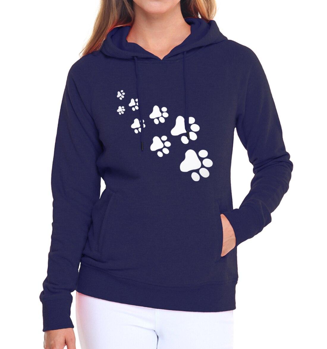 Casual fleece autumn winter sweatshirt pullovers 17 kawaii cat paws print hoodies for Women black pink brand tracksuits femme 4