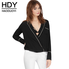 HDY Haoduoyi 2016 Autumn Fashion Women Color Block Contrast Tipped Shirt Sexy Lapel Neck Casual Long Sleeve High Low Warp Blouse