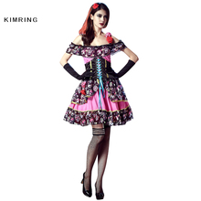 Kimring Skeleton Printing Halloween Costume Ghost Bride Carnival Cosplay Fancy Dress Adult Women Death Costume Dress