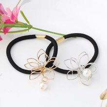 Metal Headband Floral Hair Accessories For Female Rhinestone Rubber Rope Crystal Gum For Hair Women Pearl Elastic Hair Bands