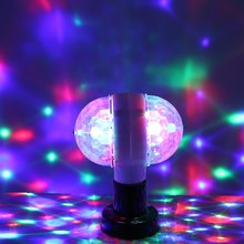 Premium Double Head LED Stage Lights RGB Crystal Ball Auto Rotating Lights 6 Leds E27 3W KTV Bar Disco Party Decora Lamp