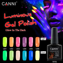 CANNI Newest Fluorescent Nail Gel Luminous Gel Nail Polish Soak off UV LED Night Glow in Dark Gel Varnish Halloween Party(China)