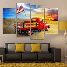 Unframed 4 Piece American Flag On a Truck Pictures Canvas Prints Home Decoration for Living Room Canvas Painting Print Cuadros