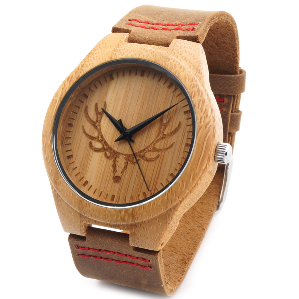 BOBO BIRD Engraved Wolf Head Wooden Wristwatch Fine Jewelry Quartz Watches for Men with Red Stitch Leather Strap in Gift Box<br><br>Aliexpress