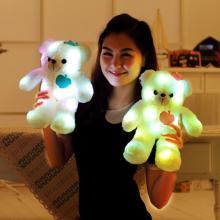 38CM LED Light Bear Plush Toys Illuminated Flashing Plush Bear Doll Throw Pillow LED Bear Toy Gift for Friends Kids(China)