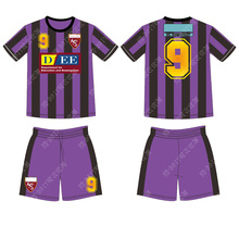 Black strip football clothing Design Your own soccer tshirt sublimation soccer jersey(China)