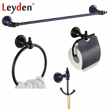 Leyden Oil Rubbed Bronze Brass Black Towel Bar Toilet Paper Holder Towel Ring Robe Hook Classical Wall Mounted Bath Hardware Set(China)