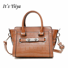 It's YiiYa Brown Black Popular Women PU Hobos HandBag Fashion Casual Alligator Pattern High Quality Trapeze Messenger Bags SS716(China)