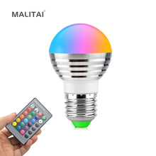 1X 16 Colors 5W RGB LED lamp 110V - 220V E27 Ball Spotlight Bulb With IR Remote Controller Holiday Decor Atmosphere Night light(China)