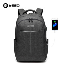 YESO Backpack Large Capacity With USB Charging Multifunction Teenager Business School Travel Laptop Backpacks For Women Men(China)