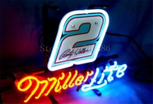 "NEW NEON SIGN For Miller Lite Nascar #2 Ford Fusion Car Real GLASS Tube BEER BAR PUB store display Shop Light Signs 17*14""(China)"