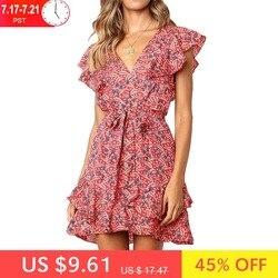 Женское летнее шифоновое платье с цветочным принтом