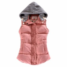 2017 Brand Winter Women's Vest Slim Cotton Waistcoat for Women Coletes Female Vest Jacket Coat Pink Warm Down Outerwear 7 Color(China)