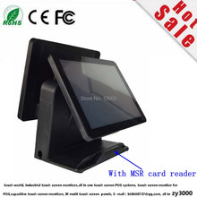 wholesale 4 units/ lot Q8 Black Factory Super double screen all in one capacitive touch screen Pos terminal with MSR care read(China)