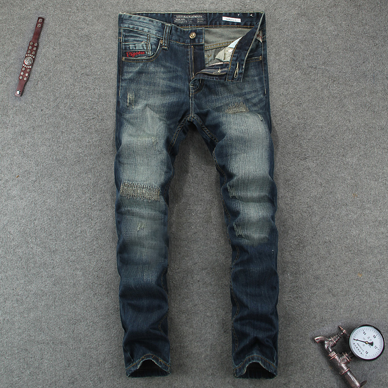 European Fashion Design Retro Men Jeans Vintage Wash Frayed Patch Stripe Jeans Men Casual Pants Skinny Fit Denim Biker JeansÎäåæäà è àêñåññóàðû<br><br>
