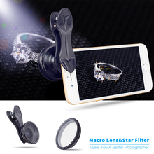 APEXEL Original mobile phone lens 25mm super macro lens with star filter camera lens photography macro lente for iphone android(China)