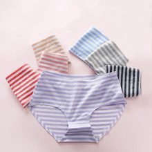 Buy Simple Style Stripe Seamless Traceless Women Breifs Middle Waist Cotton Cute Girls Underwear Calcinha Lingerie Knickers Panties