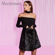 Modstreets Women Blouses 2017 Sexy Black Slash Neck Shirts Long Sleeve Backless Blusas Slim Tops Off Shoulder Night Club Wear(China)