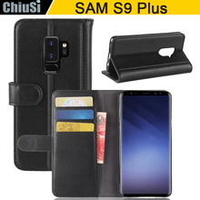 Flip Wallet Style Bovine Skin Leather Case Cover For Samsung Galaxy S9 Plus Magnetic With Slot Holders Stand Function(China)