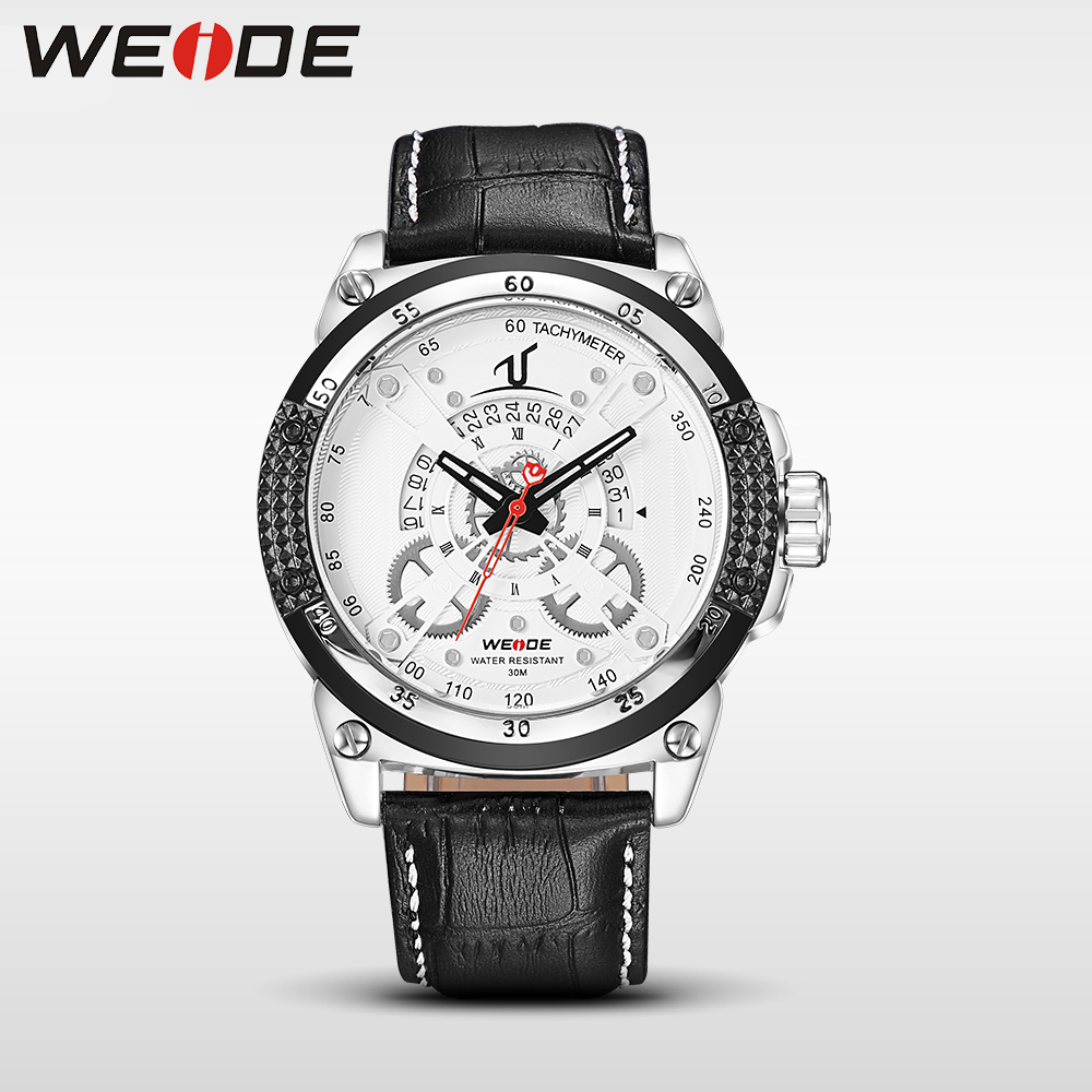 WEIDE luxury brand leather sport quartz watch men water resistant mehanical hand wind analog automatic self-wind casual genuine<br>