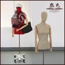 Modern female half-length fashion mannequin hot-selling wooden arms women fabric mannequin(China)