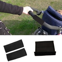 2pcs Black Color Baby Stroller Grip Cover Skid Multi Resistance Wheelchairs Poussette Non-slip Mat Hand Protector Cover Tools