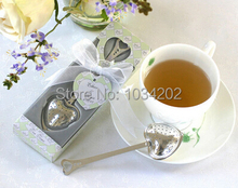 200pcs Heart Shape TeaTime Heart Tea Infuser Spoon With gift box For Weeding Party gift DHL Fedex Free