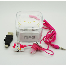 New Arrival 10 pcs/lot Mini Fashion Hello Kitty Shaped Card Reader MP3 Music Player With Hello Kitty Earphone&Mini USB&Box