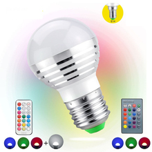 1Pcs AC85V-265V E27 E14 dimmer LED RGB Bulb Candle lamp 5W LED RGBW Spotlight magic Holiday lighting+IR Remote Control 16 colors