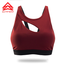 Syprem Sports Bra Sexy Hollow Women Double Shoulder Strap Running Vest Gym sports bra Padded Sport Top Athletic yoga bra,1FT1002(China)