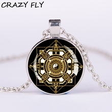 CRAZY FLY New Magic Array Pendant Necklace For Women/Girls,Silver Chain Jewelry Wholesale Glass Cabochon Necklaces LNA0295(China)